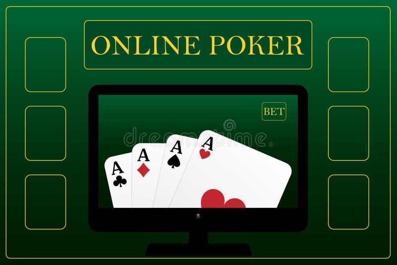 Concepto en línea del póker ilustración del vector