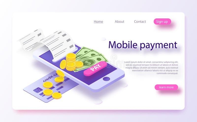 Concepto en línea del pago en línea isométrico Concepto de pagos móviles, protección de datos personal ilustración del vector