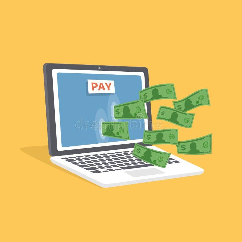 Concepto en línea del pago Ordenador portátil isométrico con efectivo Los billetes de banco pasan a través de la pantalla Botón d libre illustration