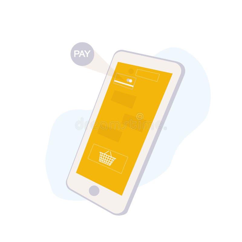 Concepto en línea del servicio que hace compras con Smartphone Interfaz de la aplicación móvil con la cesta y pagar de compras ic ilustración del vector