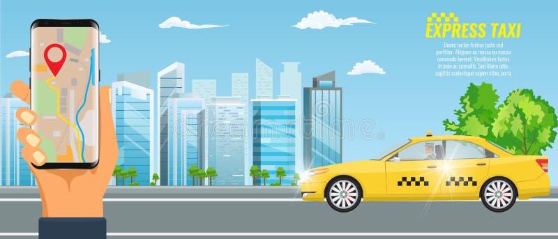 Concepto en línea del servicio del taxi del vector Taxi amarillo y mano que sostienen smartphone con el uso del taxi y el paisaje libre illustration