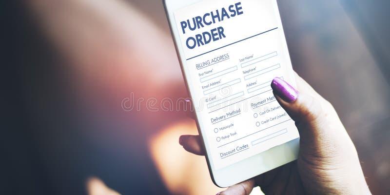 Concepto en línea del trato de la forma de la orden de compra foto de archivo libre de regalías