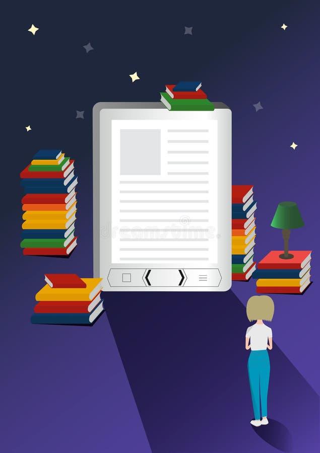 Concepto en línea del vector de la biblioteca móvil ejemplo de los E-libros 3d con la muchacha micro Más libros libre illustration