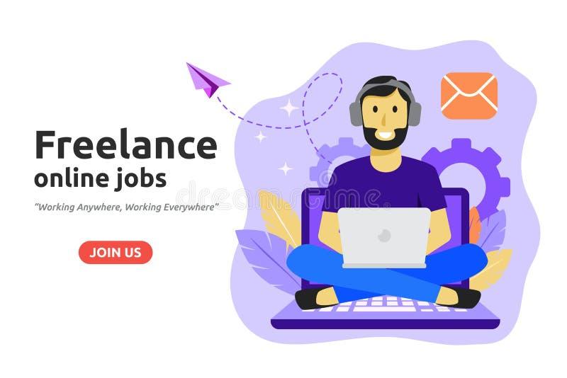 Concepto en línea independiente del sistema de trabajo El Freelancer desarrolla negocio ilustración del vector