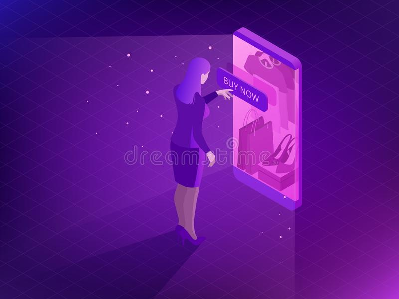 Concepto en línea isométrico de las compras Compras elegantes del teléfono en tienda en línea Compras del Internet Compre zapatos stock de ilustración