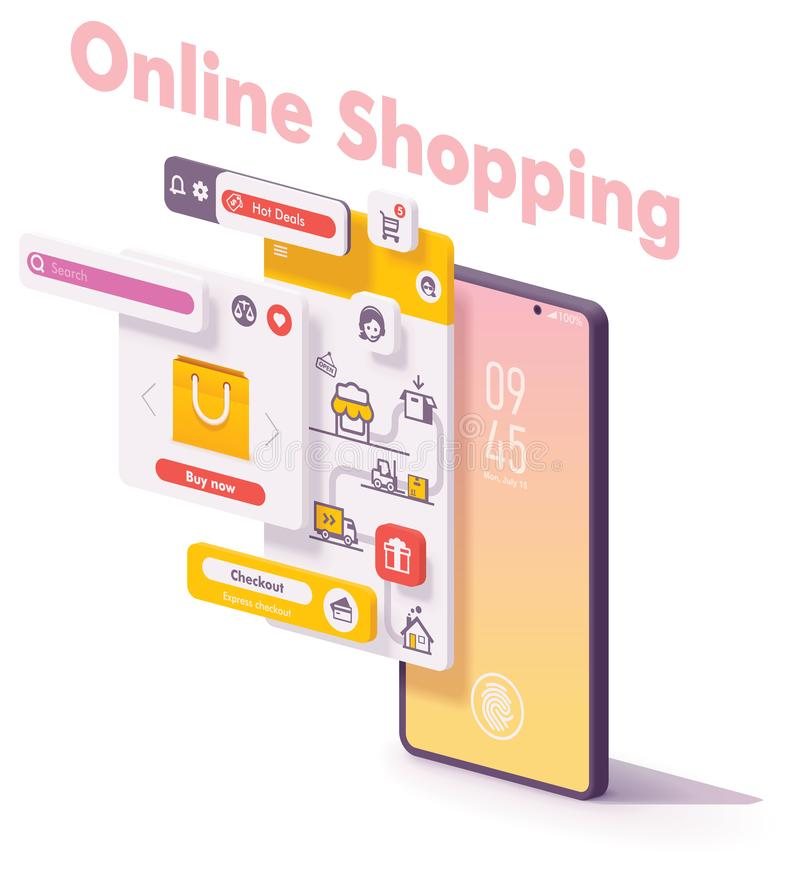 Concepto en línea móvil del app del vector que hace compras ilustración del vector