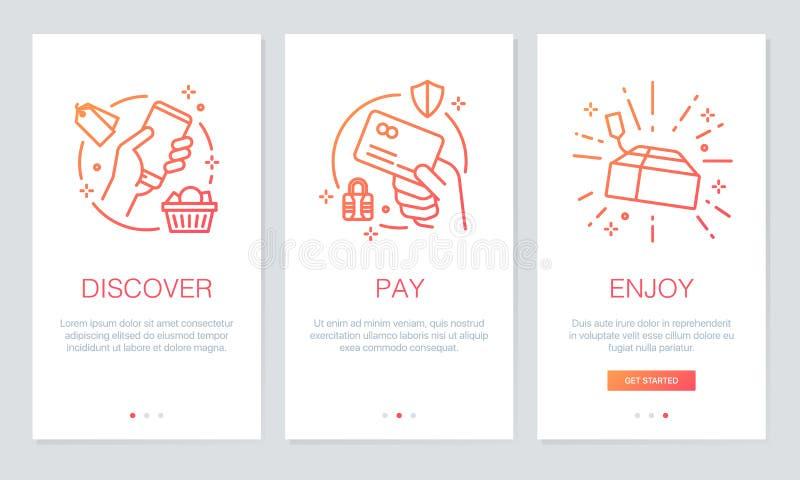 Concepto en línea que hace compras onboarding las pantallas del app El recorrido moderno y simplificado del ejemplo del vector de stock de ilustración