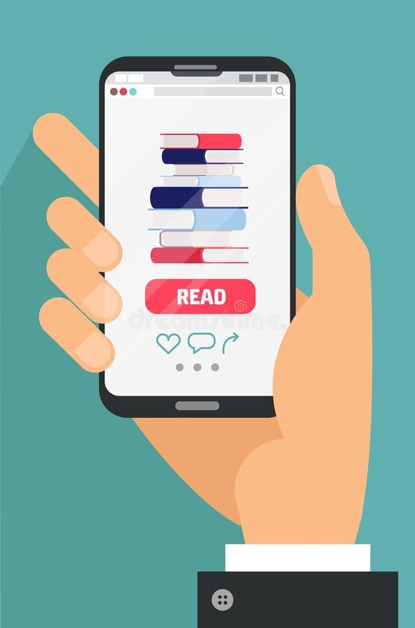Concepto en l?nea de la educaci?n Mano masculina que sostiene el teléfono móvil con el app del eBook en la pantalla Pila de libro ilustración del vector