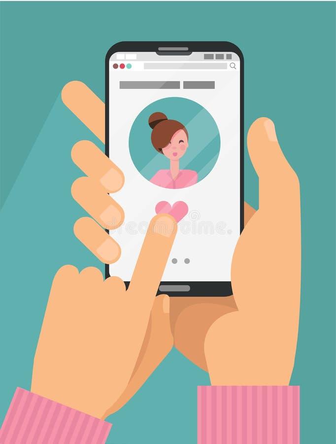 Concepto en l?nea del app que fecha Manos masculinas en smartphone de la tenencia del traje con la mujer en la pantalla El fechar stock de ilustración