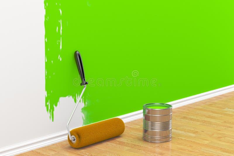 Concepto en la reparación: cepillo del rodillo que pinta la pared blanca stock de ilustración