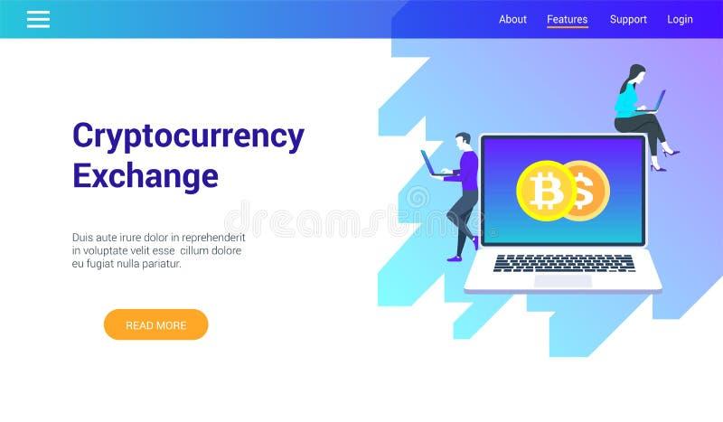 Concepto en tema del intercambio del cryptocurrency ilustración del vector