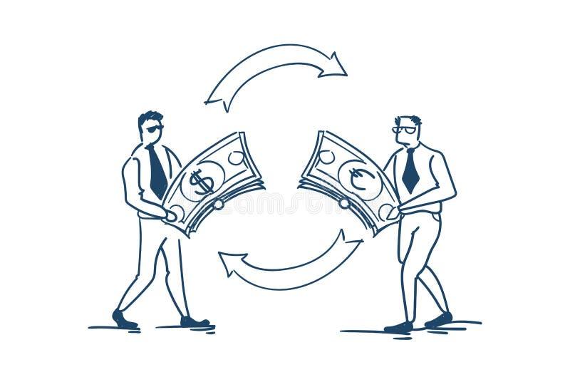 Concepto euro del intercambio de moneda del dólar del dinero del cambio del hombre de negocios en el garabato blanco del bosquejo stock de ilustración