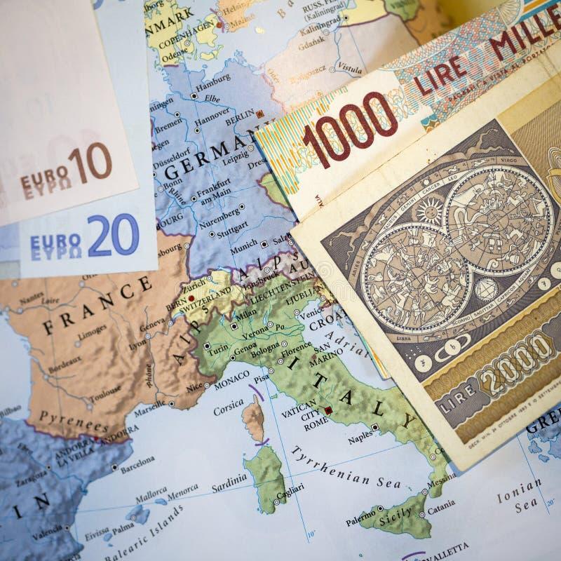 Concepto euro italiano de la salida de la moneda imagen de archivo