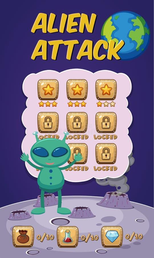 Concepto extranjero del juego del ataque ilustración del vector