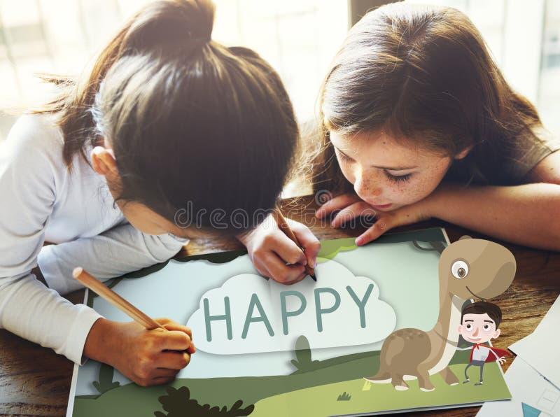 Concepto feliz de la imaginación de la niñez de los niños de los niños fotografía de archivo