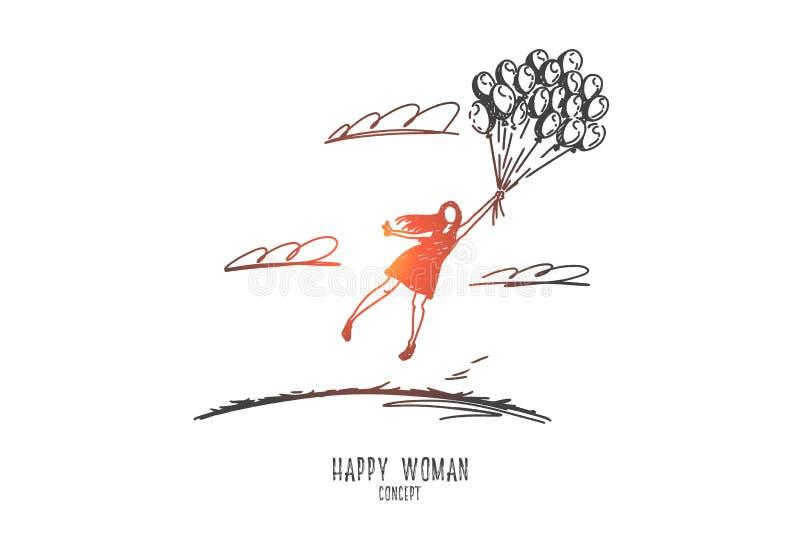 Concepto feliz de la mujer Vector aislado dibujado mano libre illustration