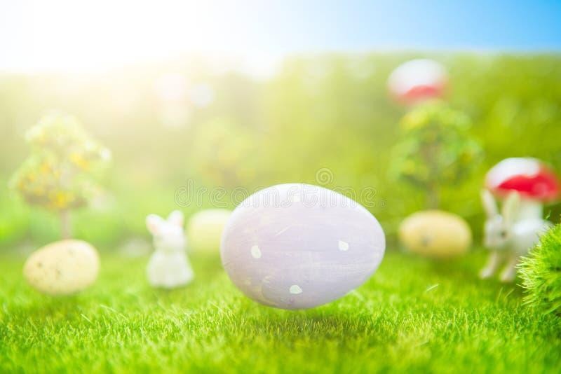 Concepto feliz de Pascua Conejito de pascua del bebé en hierba verde de la primavera Puesta del sol del cuento de hadas en el cam fotos de archivo