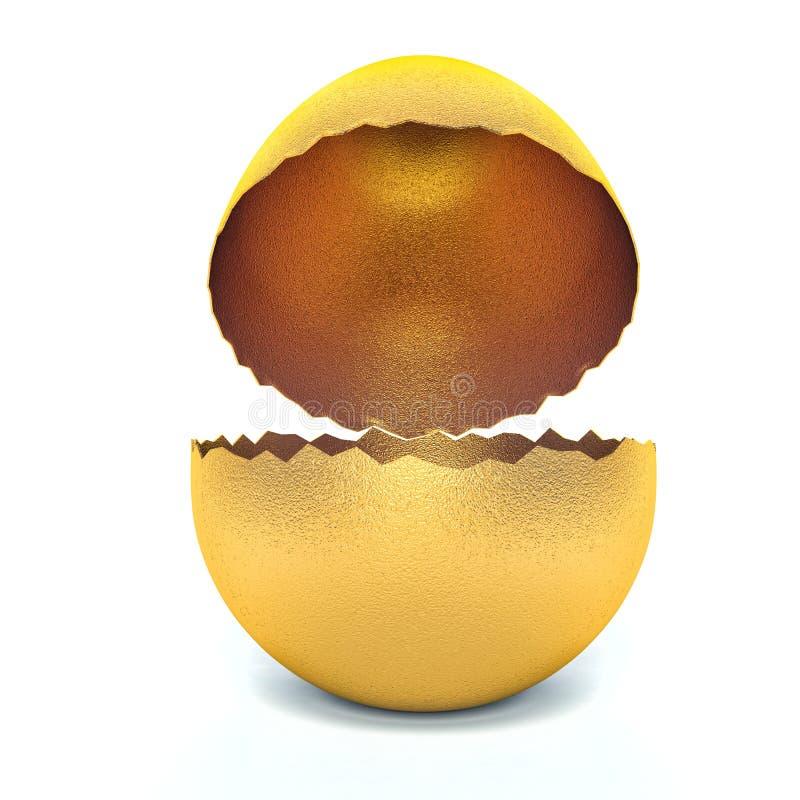 Concepto feliz de Pascua Huevo de oro grande roto vacío stock de ilustración