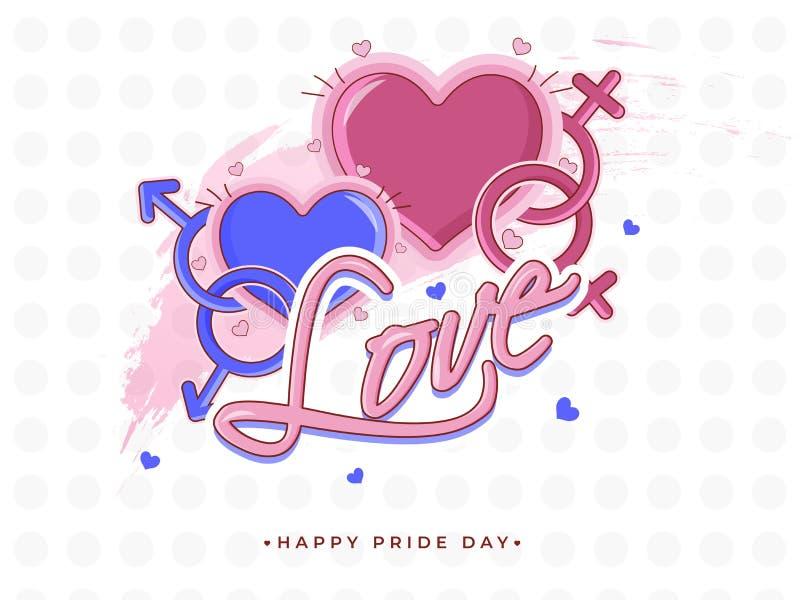 Concepto feliz de Pride Day para la comunidad de LGBTQ con los pares del homosexual y lesbiana ilustración del vector