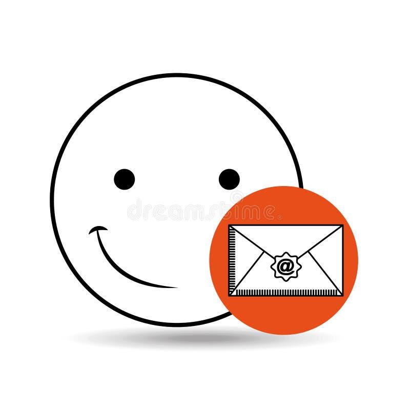Concepto feliz del correo electrónico del Emoticon ilustración del vector