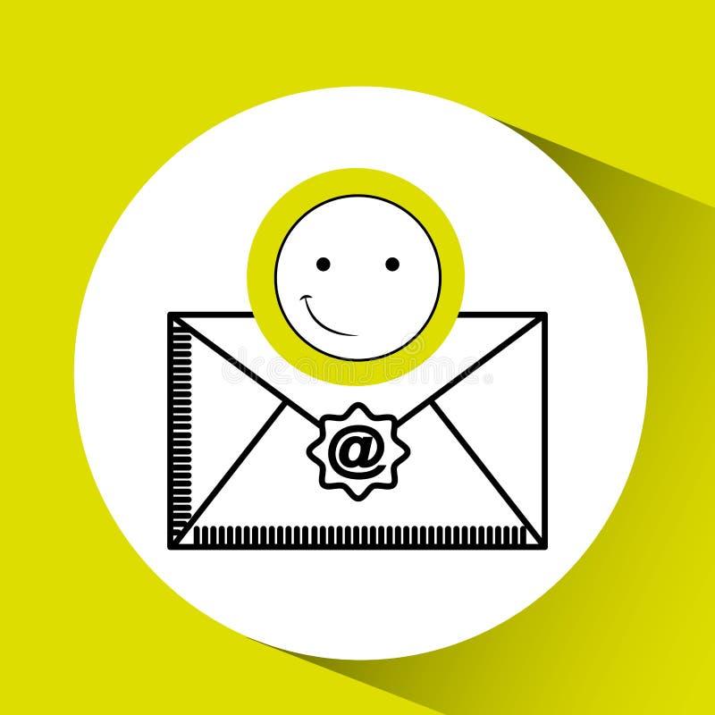 Concepto feliz del correo electrónico del Emoticon libre illustration
