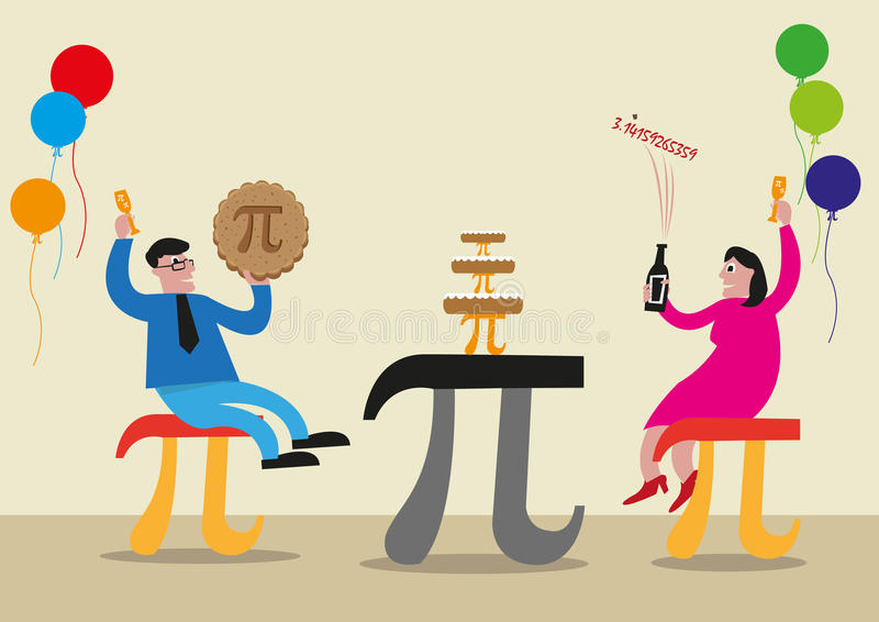 Concepto feliz del día del pi La gente está celebrando con el símbolo de letra griego del pi hecho como sillas, comida y tablas C ilustración del vector