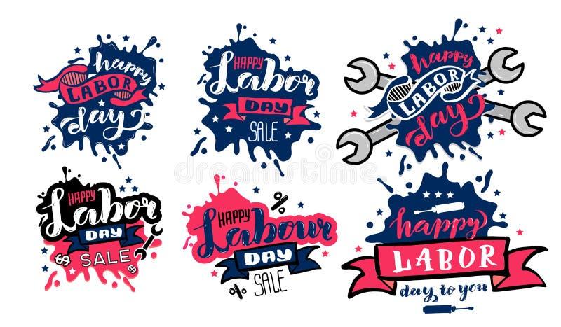 Concepto feliz del Día del Trabajo del vector Los sistemas de la insignia del Día del Trabajo y las etiquetas diseñan en venta la libre illustration