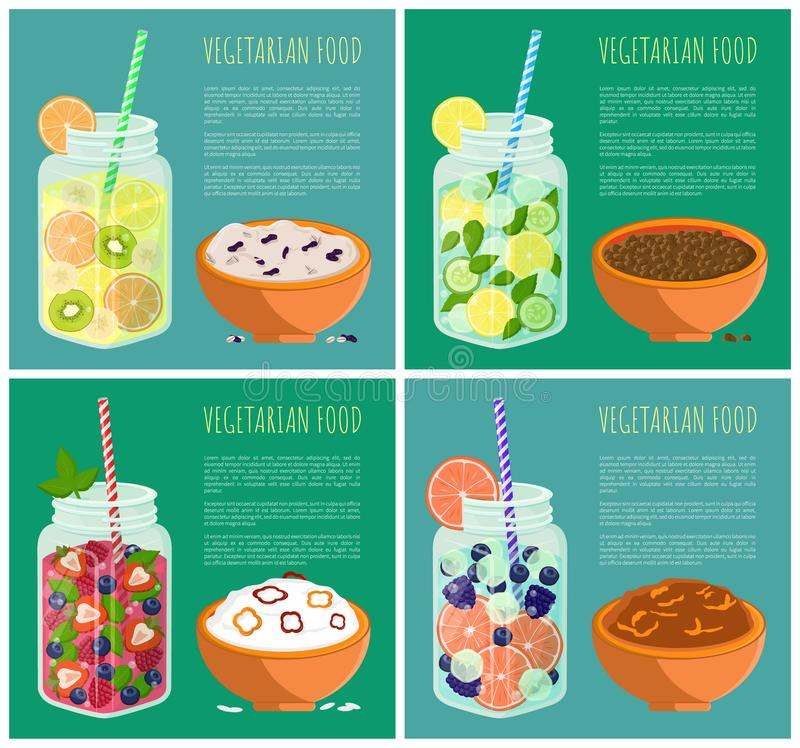 Concepto fijado carteles vegetarianos de la dieta del Detox de la comida libre illustration