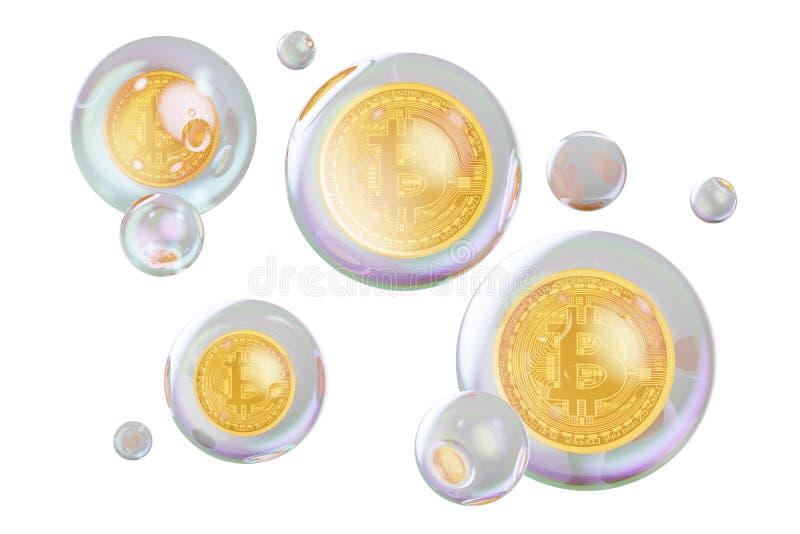 Concepto financiero de la burbuja Bitcoins dentro de burbujas de jabón, rende 3D stock de ilustración