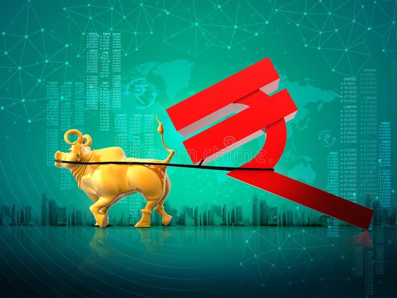 Concepto financiero del éxito del crecimiento del negocio, toro de oro que arrastra el símbolo de la rupia india, fondo del extra