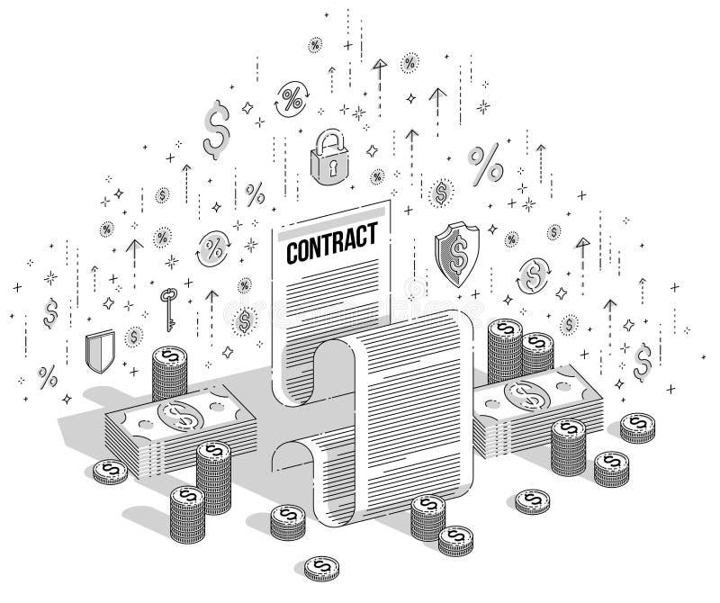 Concepto financiero del contrato, documento jurídico de papel y dinero del efectivo ilustración del vector