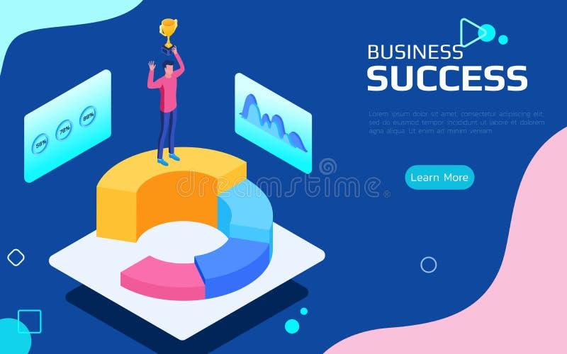 Concepto financiero isométrico del éxito Soporte del hombre de negocios encima del pico del mercado y del trofeo de los controles ilustración del vector