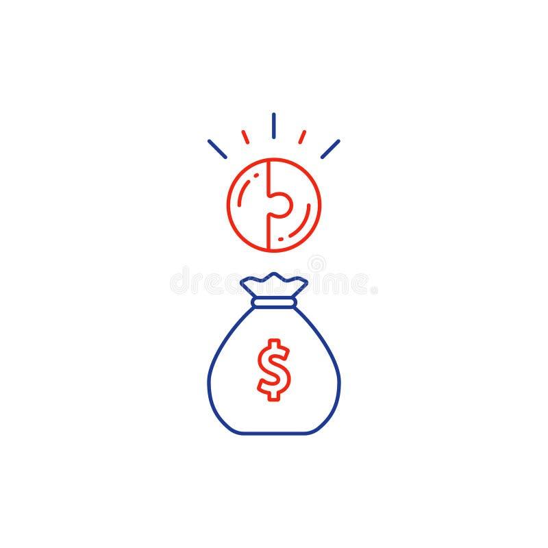 Concepto financiero, plan del presupuesto, bolso del dinero, línea de interés compuesto icono ilustración del vector