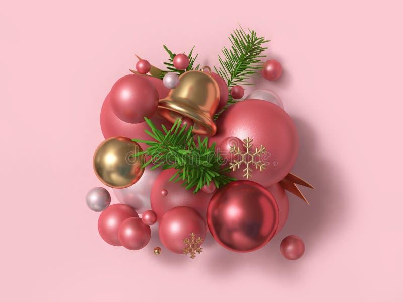 Concepto flotante del Año Nuevo del día de fiesta de la Navidad de la Navidad de la bola-campana del rosa de la reflexión brillan imagen de archivo libre de regalías
