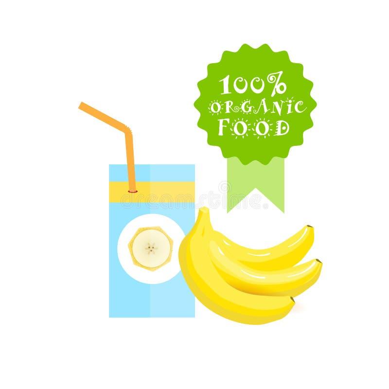 Concepto fresco de Juice Logo Natural Food Farm Products del plátano del ith de cristal stock de ilustración