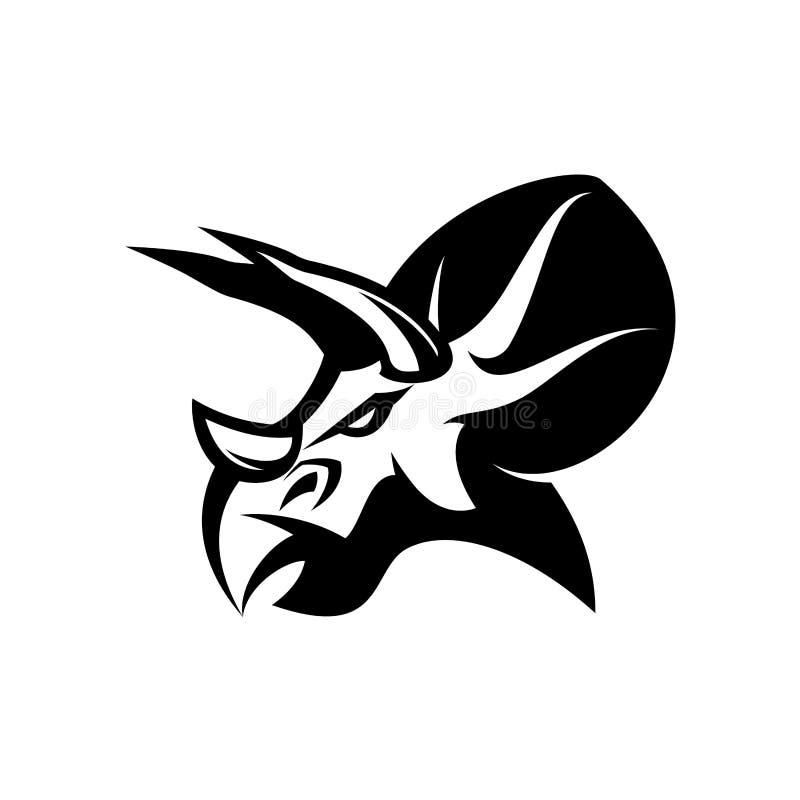 Concepto furioso del logotipo del vector del club de deporte del dinosaurio aislado en el fondo blanco stock de ilustración
