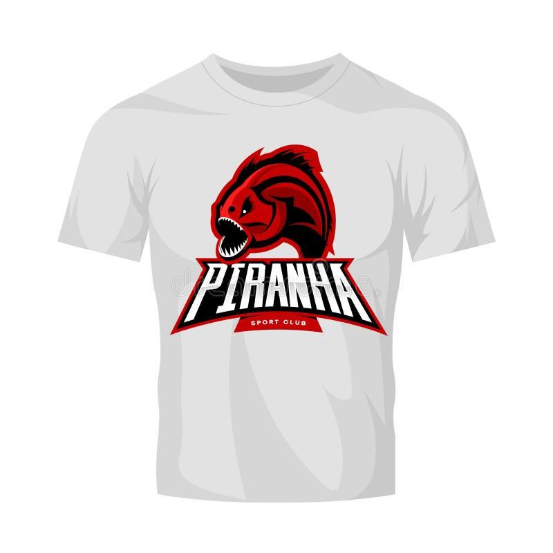 Concepto furioso del logotipo del vector del deporte de la piraña aislado en la maqueta blanca de la camiseta libre illustration