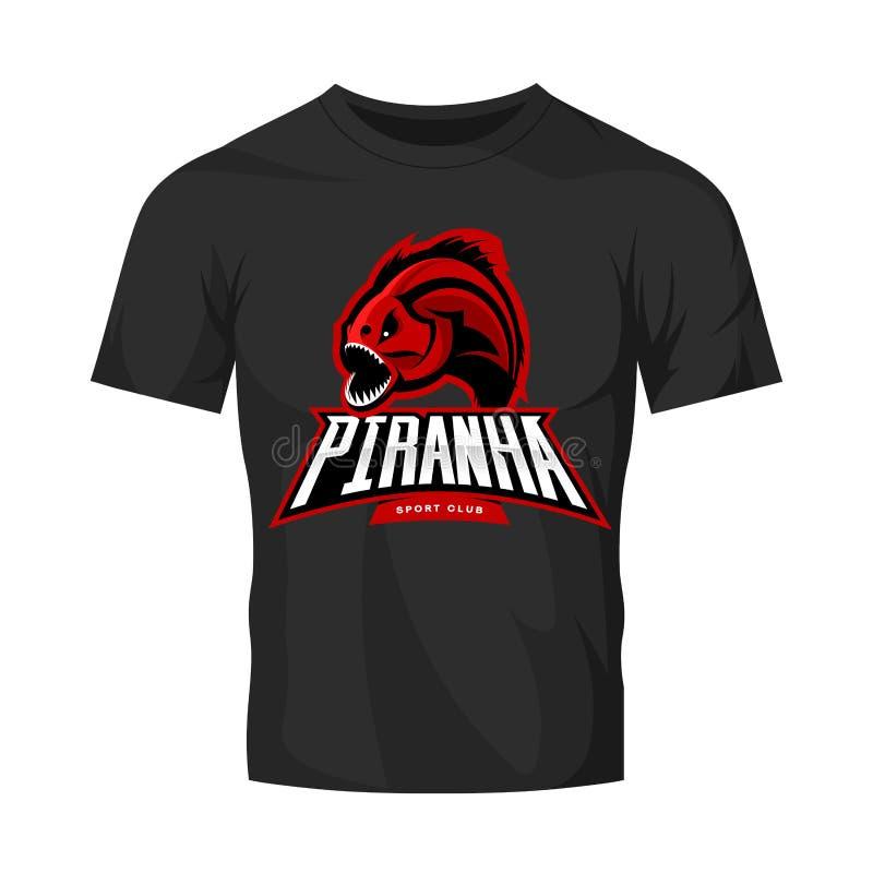 Concepto furioso del logotipo del vector del deporte de la piraña aislado en maqueta negra de la camiseta ilustración del vector
