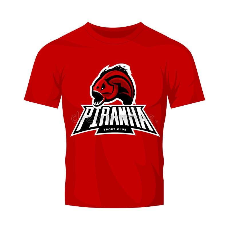 Concepto furioso del logotipo del vector del deporte de la piraña aislado en maqueta roja de la camiseta libre illustration