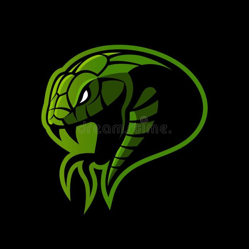 Concepto furioso del logotipo del vector del deporte de la serpiente verde aislado en fondo negro stock de ilustración