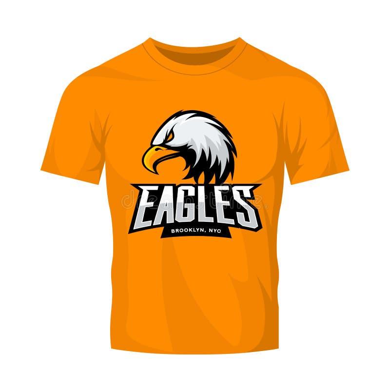 Concepto furioso del logotipo del vector del deporte del águila aislado en maqueta anaranjada de la camiseta libre illustration