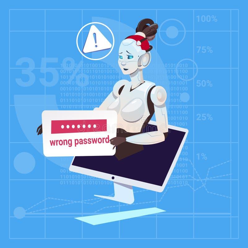 Concepto futurista de la tecnología de inteligencia artificial del robot del error del mal de la contraseña del problema femenino libre illustration