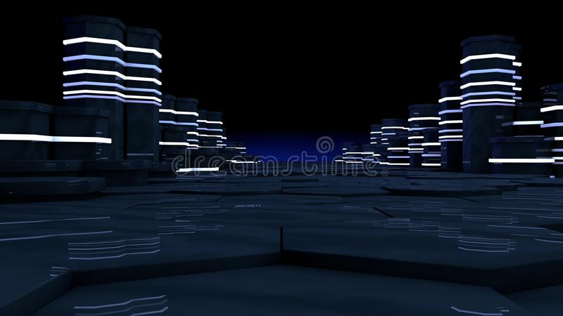 Concepto futurista de sitio del servidor en datacenter El almacenamiento de datos grande, servidor atormenta con las luces de neó libre illustration