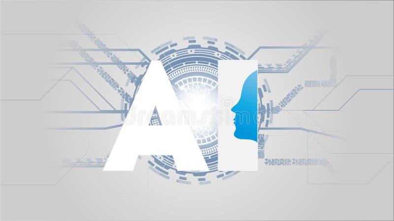 Concepto futurista del AI de la inteligencia artificial Visualización grande humana de los datos con mente cibernética Aprendizaj libre illustration