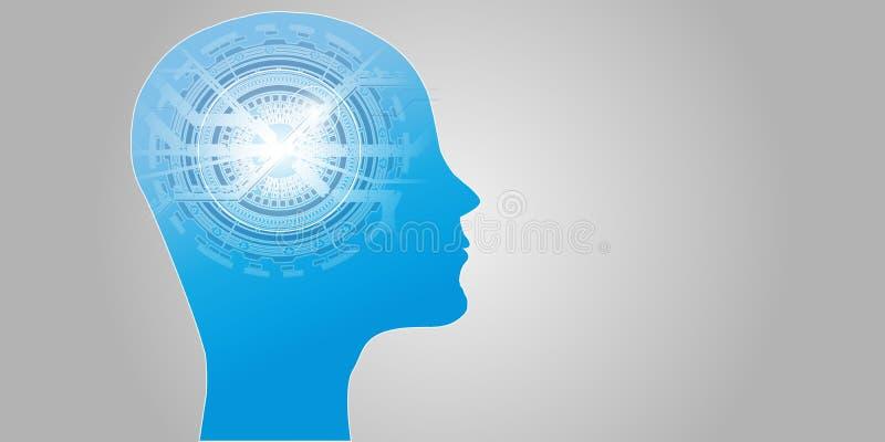 Concepto futurista del AI de la inteligencia artificial Visualización grande humana de los datos con mente cibernética Aprendizaj stock de ilustración