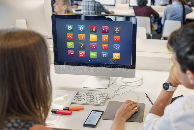 Concepto futurista del contenido de Digitaces de la conexión de las multimedias foto de archivo libre de regalías