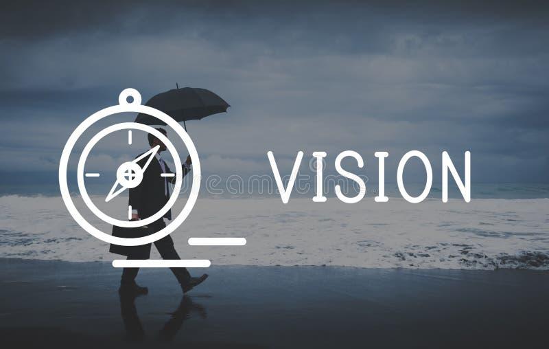 Concepto futuro de la blanco de la motivación de las ideas de la dirección de Vision imágenes de archivo libres de regalías