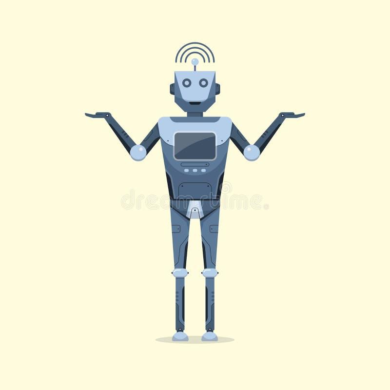 Concepto futuro inteligente artificial de la tecnología de la historieta del diseño de carácter del robot stock de ilustración