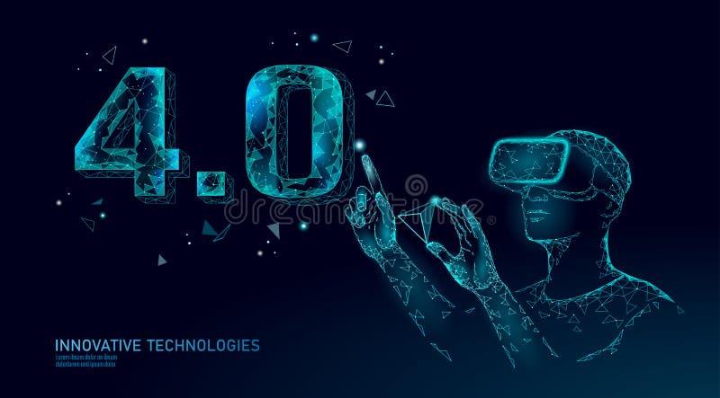 Concepto futuro polivinílico bajo de la Revolución industrial Industria 4 0 números montaron los vidrios del casco de VR Realidad libre illustration