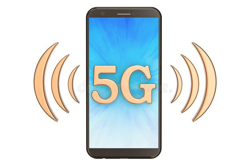 concepto 5G con el teléfono, representación 3D ilustración del vector